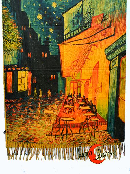 Bufanda O Fular De Invierno De Cachemira Muy Suave Con El Cuadro Terraza De Café Por La Noche De Vang Gogh